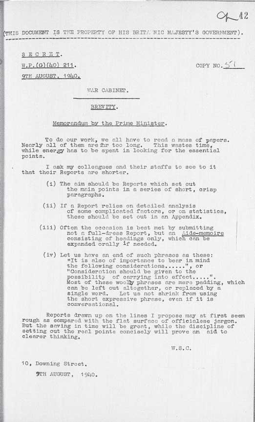 warcabinetmemo211_1940_brevity